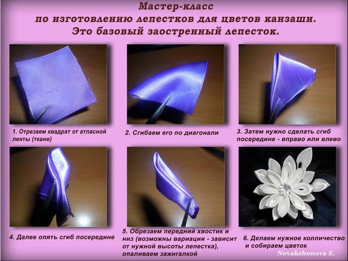 Инструкция как сделать цветок из атласной ленты
