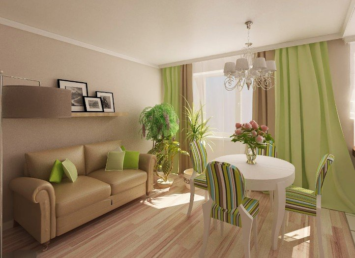 Hálószoba design zöld. A nappali belseje zöld függönyökkel